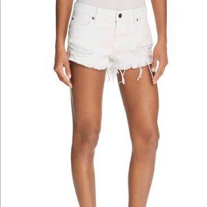 Pistola Distressed Cutoff Denim Shorts in White